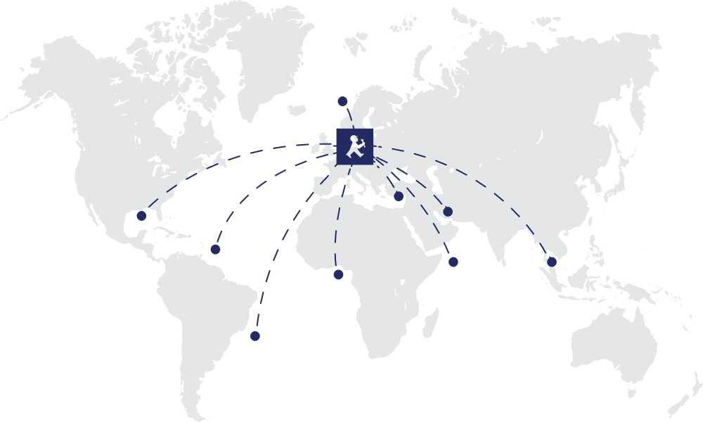 The map showing worldwide transfer of data